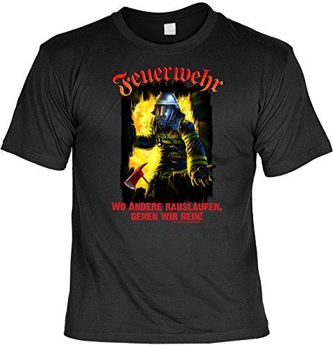 Feuerwehr T-Shirt Wo andere rauslaufen, gehen wir rein Shirt 4 Heroes Geburtstag Geschenk geil bedruckt mit Urkunde Schwarz