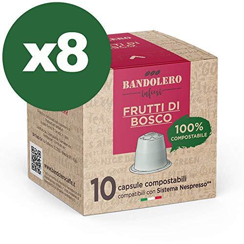 BANDOLERO 100% Kompostierbar Made in Italy, 80 Nespresso-kompatible Kapseln, Wildfrüchte Tee aus ökologisch nachhaltigem Anbaue, Unverwechselbares Aroma für die Nespresso-Maschine