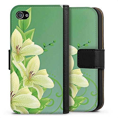 Apple iPhone X Silikon Hülle Case Schutzhülle Lilie Blume Lilly Sideflip Tasche schwarz