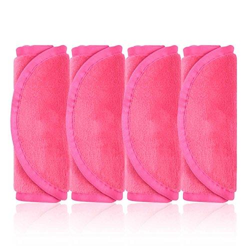 Make-Up Entferner Tuch, 4er Set Abschminktücher, Abschminken und Reinigen nur mit Wasser ohne Chemie - hypoallergen & waschbar & wiederverwendbar mikrofaser abschminktücher (Rosenrot) - Sieht Das Augen Make-up Entferner