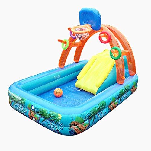 Piscina per bambini multiuso con scivolo gonfiabile castello gonfiabile, blu, dimensioni: 188 * 137 * 34 cm