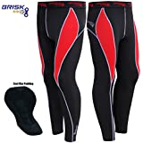 Brisk Cycling Trouser Thermal Pant Padded Men compression tights bike (Black/Red, Large)