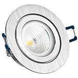IP44 LED Einbaustrahler Set EXTRA FLACH (35mm) in Bicolor (chrom / gebürstet) mit LED Markenleuchtmittel von LEDANDO - 6W DIMMBAR - 2.700 Kelvin warmweiss - Ra > 90 - 60° Abstrahlwinkel - Feuchtraum / Badezimmer - 35W Ersatz - COB LED