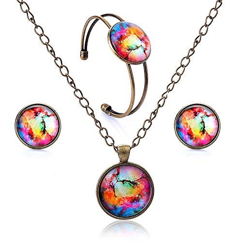 Lureme Orecchini pendenti a disco serie gioiello prigioniera tempo aperto bracciale Braccialetto e collana pendente set di gioielli per le donne e le ragazze (09000440) (mondo colorato)