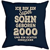 Geschenkidee zum 18 Geburtstag Polster Kissen mit Füllung super Sohn geboren 2000 und ein echter Hingucker Polster zum 18. Geburtstag für 18-jähirge Dekokissen