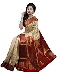 Avik Creations Polyester Saree With Blouse Piece (AC-740A_Off White; Red, Golden_Free Size)