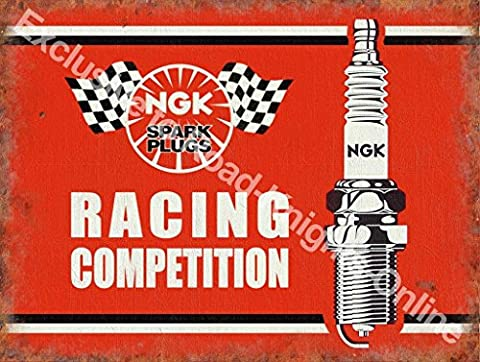 NGK Racing Competition Spark Plugs, cars, bikes, motor. Racing. Red sign with black and white image. Old retro vintage for house, home, bar, garage, pub or bar. Small Metal/Steel Wall