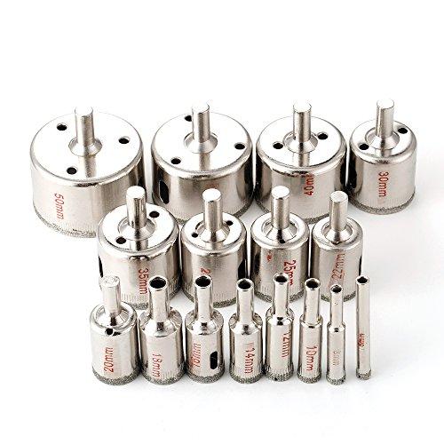 Ensemble 16 pièces de mèches de perceuse scie cloche pour carrelage en marbre, céramique ou verre. Revêtement diamant 6 mm - 50 mm