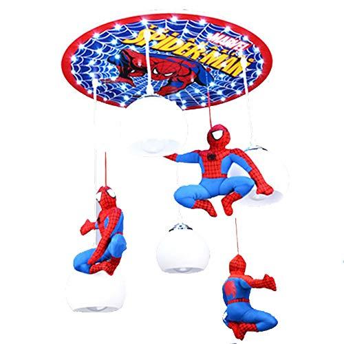 Lustre de chambre d'enfants LED, plafonnier de protection des yeux de bande dessinée Little Boy Spiderman Lampe suspension pour salon Chambre Chambre d'enfants Jardin d'enfants (57 * 40 * 80CM)-4head