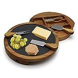 Vangogh Käsebrett aus Akazienholz, Schiefer zum Herausschieben, rund, mit Käsehobel, 4 Teile, Versteckte Schubladen