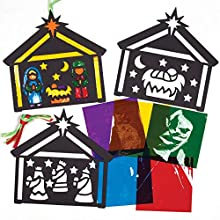 Baker Ross AT145 Nativity Stained Glass Effect Decoration Kits, Christmas Arts and Crafts (Pack of 6), Assorted