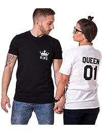 Pareja Camiseta Shirt King Queen Couple 100% Algodón Manga Corta Impresión  T-Shirt Blanco Negro Regalo de San… 08ec6f743c839