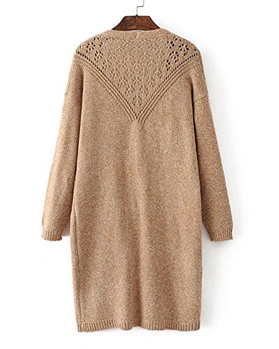Donna Cappotto Lunga Cardigan Elegante Casual Tasche Manica Lugna Maglione Sweatercoat Cachi