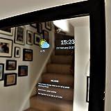 SMART Miroir par Mysmartmirror Cadre noir Miroir en verre qui cette personnalisée Google Affichage Calendrier, Actualités, météo, Trafic, trains, tubes–Medium (30x 40), Structure noire, 33cm x 43cm