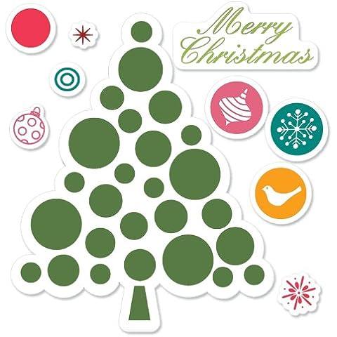 Sizzix Merry Christmas Tree by Hero Arts Framelits Die - Juego de sellos troquelados y árbol de Navidad (8 unidades), varios