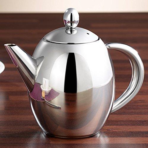 Rosenstein & Söhne Tee-Kanne mit Teefilter: Edelstahl-Teekanne mit Siebeinsatz, 0,5 Liter, spülmaschinenfest (Tee-Kanne mit Edelstahl-Teesieb) - 3