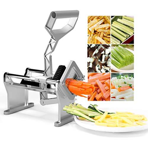 COSTWAY Pommes Frites Schneider aus Edelstahl, Kartoffelschneider mit 4 Klingen, Pommesschneider Silber, Obst- & Gemüseschneider ideal für Kartoffeln, Karotten, Gurken