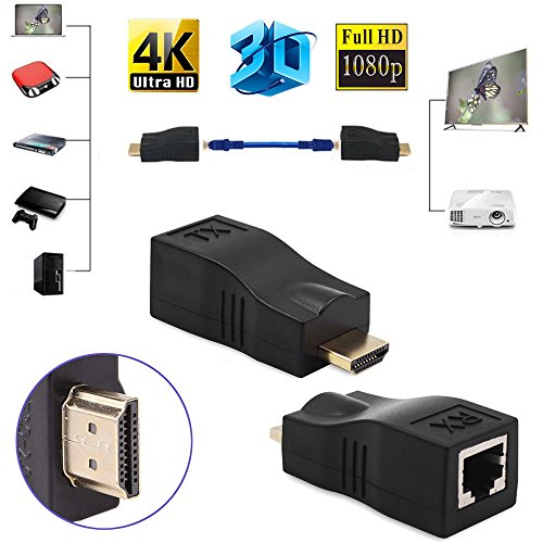Microware Full HD 1080P HDMI 2.0 Extender Converter RJ45 Interface Cat Cat5e Cat6 Cable up to 30 Meters for HDCP 1 Pair