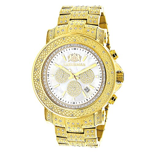 Luxurman-Escalade-Large-Iced-Out-Mens-Diamond-Watch-Yellow-Gold-Plated-White-MOP-Dial-2ct