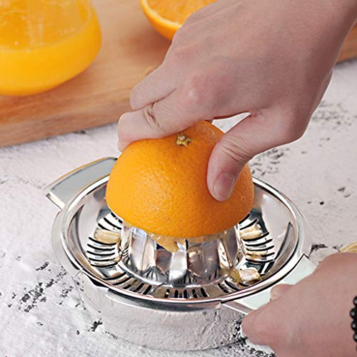 Conquror Presse-agrumes en acier inoxydable au citron avec récipient pour bol de jus fait maison de fruits oranges et citrons