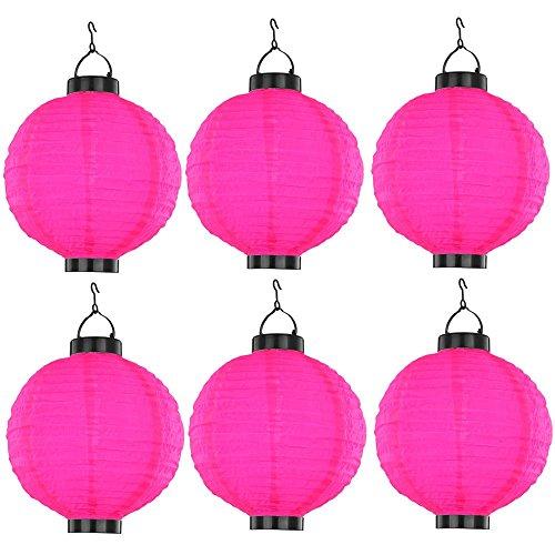 6er Set Deko Leuchten LED Veranda Lampion Solar Garten Lampen Kugel rosa