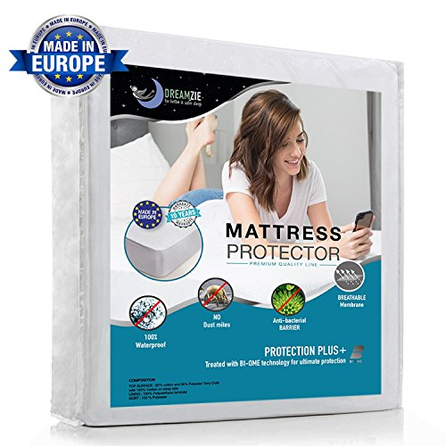 Waterproof Mattress Protector Twin/Single (90 x 190/200cm) - Breathable, Hypoallergenic, Anti-Mite, Anti-Bacterial, Anti-Mold Fitted Topper for Single Bed - New Bi-Ome Treatment - 10 Year Warranty