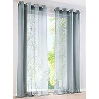 Cortina de gasa de poliéster transparente con ojales , tela, gris claro, BxH 140x225cm