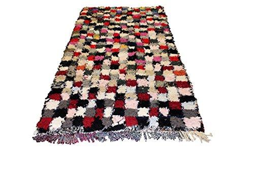 Boucherouite pálido Vintage Tribal marroquí hecha a mano multicolor Patchwork alfombra Bereber alfombra grande 2,37x 1,27m
