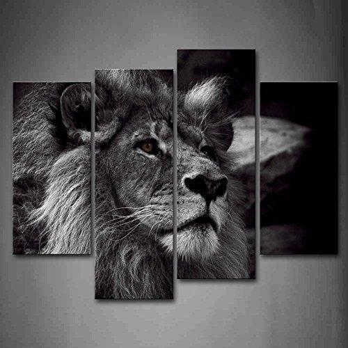 Schwarz Und Weiß Grau Löwe Kopf Porträt Wandkunst Malerei Das Bild Druck Auf Leinwand Tier Kunstwerk Bilder Für Zuhause Büro Moderne Dekoration (Tier Leinwand-drucke)