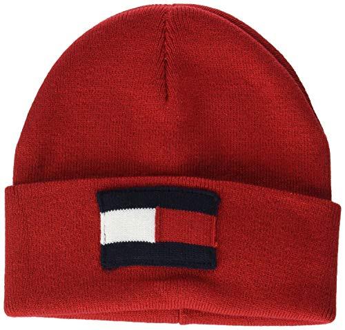 Tommy Hilfiger Unisex Kinder Strickmütze Big Flag Beanie, Rot (Tommy Red 614), Medium (Herstellergröße: S-M)
