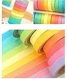Ailiebhaus 10x Washi Tape DIY Dekorative Regenbogen Klebeband Dekobänder Aufkleber für Kinder und Geschenke Verpackung Halloween, Thanksgiving Day, Weihnachten(Bunt10P) Test