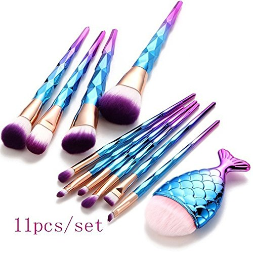 Make-up-Pinsel Set, kalorywee Beauty Tools 100 Mermaid Synthetic Kabuki Kosmetikpinsel Kit + 1 pc professionelle Chubby Fishtail unten Blush Pinsel für Foundation Powder Blush