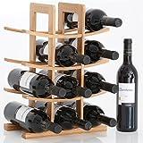 Gräfenstayn Weinregal PORTO - aus Bambus-Holz für 12 Wein-Flaschen - Größe 30x16x42 cm (LxBxH) Weinflaschenhalter Weinkiste Flaschenregal