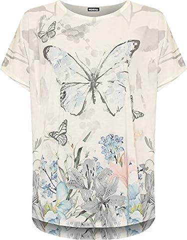 Plus Damen Hi Lo Dip Hem T-Shirt Top Schmetterling Print Rund Rundhals Neu 44-54 (XL (EUR 44-46), (Runde Dip)