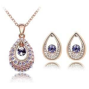 MARENJA Cristal-Parure Bijoux Collier et Boucles d'Oreilles Dore pour Femmes Goutte d'Eau avec Cristal Autrichien Violet Plaque Or 40-45cm
