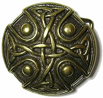 KNOTWORK BELT BUCKLE 'OLD BRASS METAL' + display stand