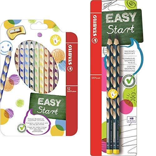Ergonomischer Buntstift für Linkshänder - STABILO EASYcolors - 12er Pack mit Spitzer - mit 12 verschiedenen Farben & Ergonomischer Dreikant-Bleistift - 2er Pack