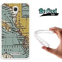 Becool® Fun - Funda Gel Flexible para Alcatel Pop 4 Plus ,Carcasa TPU fabricada con la mejor Silicona, protege y se adapta a la perfección a tu Smartphone y con nuestro exclusivo diseño. Mapa antiguo