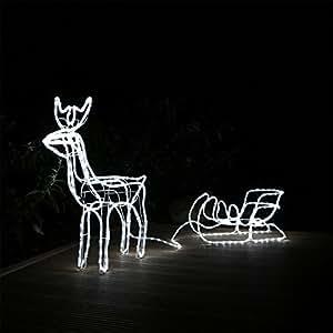led rentier mit schlitten beleuchtet weihnachten f r aussen innen garten elch hirsch. Black Bedroom Furniture Sets. Home Design Ideas