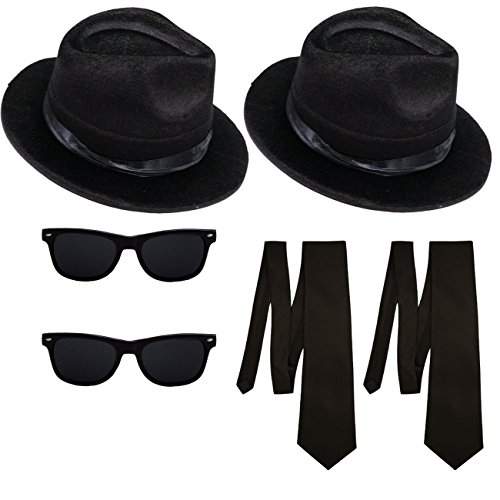 2 Blues Brothers Sets Hut und Brille + 2 Schlipse Kostüm Set (Brille Blues)