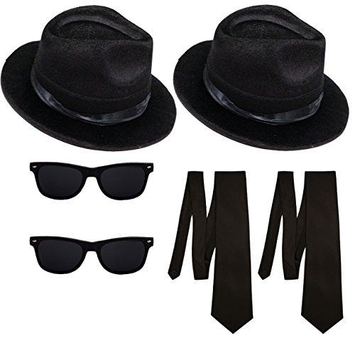 2 Blues Brothers Sets Hut und Brille + 2 Schlipse Kostüm Set (Blues Brille Schwarz)