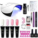 Nail Extension Set Faux Ongles Gel Construction Poly Nail Gel à Ongle 36W UV LED Lampe Manucure Base coat Top coat Cleanser Stickers Décor Nail Art Kit Complet
