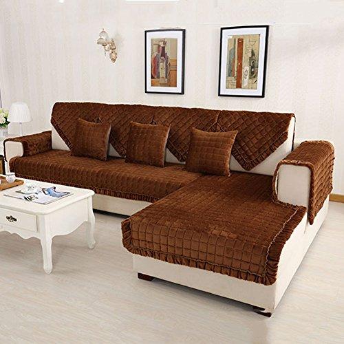 GLJY Sofabezug, Flanell Gesteppt Schonbezug - Anti-Rutsch-Fleck Resistent Checkered Sectional Couch Abdeckung Möbel Protector - Multi-Size,110*160Cm (2 Stück Wohnzimmer Chaise)