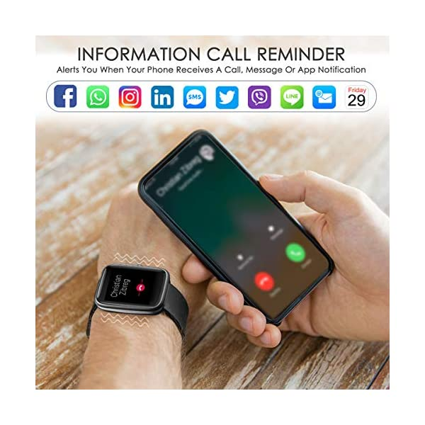HOMVILLA Smartwatch Fitness Tracker Reloj Inteligente Impermeable IP68 Fitness con Monitor de Ritmo Cardíaco Podómetro Monitor de Sueño Cronómetro Temporizador para Hombres Mujeres iPhone Android rosado 5