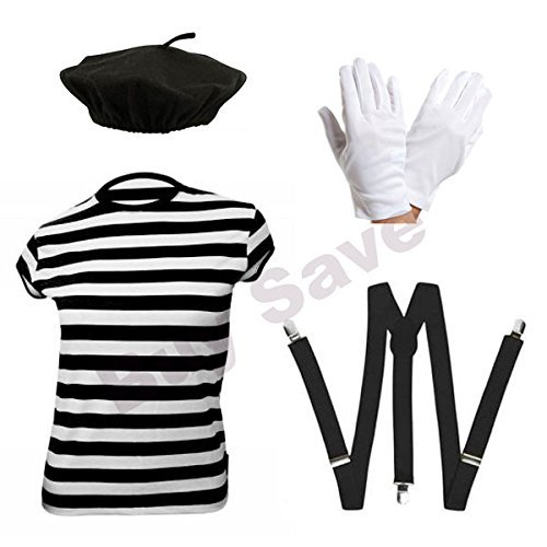 Childrens Kids Mime Artist French T Shirt, Beret Hat, Braces & Gloves Fancy Dress Costume (10-12 years) by Blue Planet Online