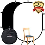 Lencarta Background Backdrop Screen 100% Cotton Muslin Black White YouTube Rectangle Double Sided Pop Up Background for Video, Filming, Product, Event, Potrait, Still Life and Baby Photography 1.5x2M / 4.9x6.6FT