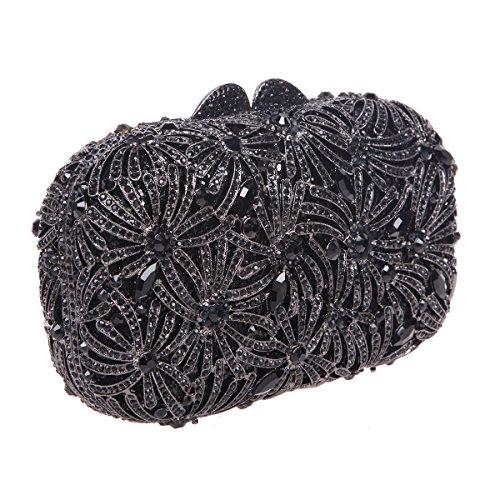 Bonjanvye Bling Studded Rhinestone Fireworks Crystal Clutch Bag for Evening Party Gold Black