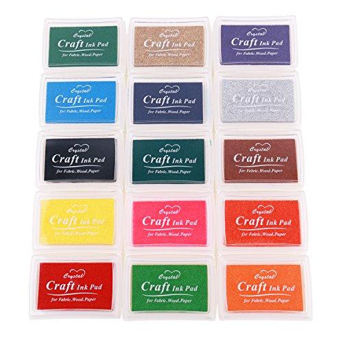 Lomofila Stempelkissen, 15 Farben Crafts Stempelkissen für Gummi Stempel DIY Scrapbooking und Karte machen Dekoration, Spielzeug für die Herstellung von Fingerfarben