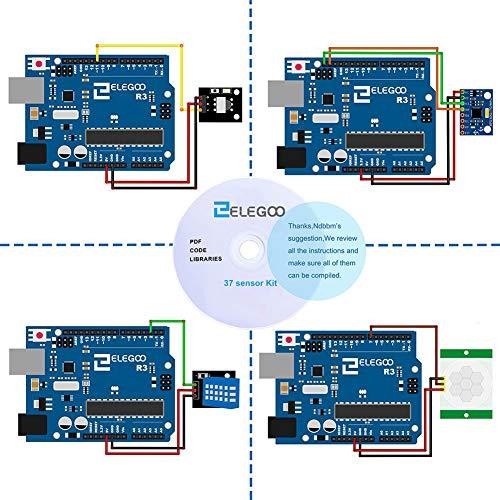 ELEGOO Kit DE 37-en-1 Module Capteur V2.0 avec CD Tutorial Complet et Accessible pour Raspberry Pi Débutants et Professionnels DIY Compatible avec Arduino IDE Img 3 Zoom