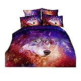 Galaxy Wolf Bettwäsche Set rosa rot lila Sternenhimmel Tier Tierbettbezug Kissenbezug (150x210cm)